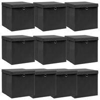 vidaXL Boîtes de rangement avec couvercle 10 pcs Noir 32x32x32cm Tissu