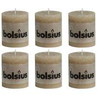 Bolsius Bougies pilier rustiques 6 pcs 80 x 68 mm Beige pastel
