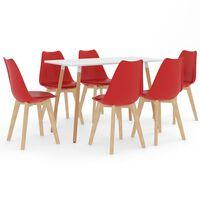 vidaXL Ensemble de salle à manger 7 pcs Rouge