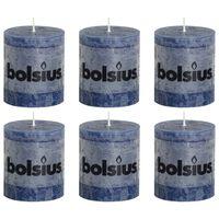 Bolsius Bougies pilier rustiques 6 pcs 80 x 68 mm Bleu foncé