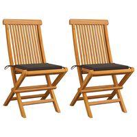 vidaXL Chaises de jardin avec coussins taupe 2 pcs Bois de teck massif