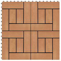 vidaXL Carreaux de terrasse 22 pcs 30 x 30 cm 2 m² WPC Teck