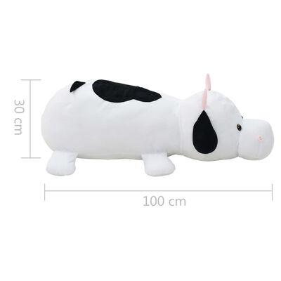 vidaXL Vache en peluche Blanc et Noir