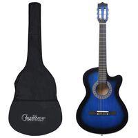"vidaXL Jeu de guitare 12 pcs acoustique western avec 6 cordes Bleu 38"""