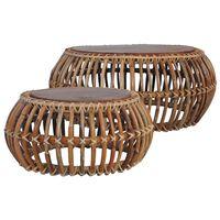 vidaXL Tables basses 2 pcs Rotin naturel