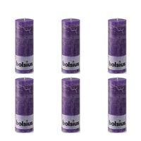 Bolsius Bougie pilier rustique 190 x 68 mm Violet 6 pcs