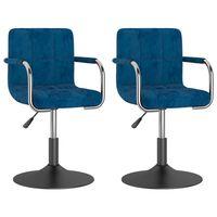 vidaXL Chaises pivotantes de salle à manger 2 pcs Bleu Velours