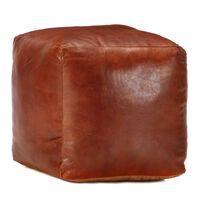 vidaXL Pouf 40 x 40 x 40 cm Brun roux Cuir véritable de chèvre