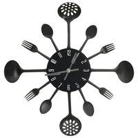 vidaXL Horloge murale et cuillère avec fourchette Noir 40 cm Aluminium