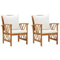vidaXL Chaises de jardin avec coussins 2 pcs Bois d'acacia massif