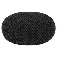 LABEL51 Pouf tricoté Coton L Noir