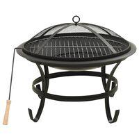 vidaXL Foyer et barbecue avec tisonnier 2 en 1 56x56x49 cm Acier