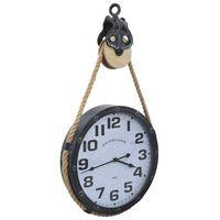 vidaXL Horloge murale avec corde Noir et marron 40x8x82 cm Fer et MDF
