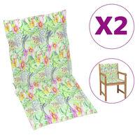 vidaXL Coussins de chaise de jardin 2 pcs Motif de feuilles 100x50x4cm