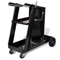 vidaXL Chariot de soudage avec 3 étagères d'atelier Noir