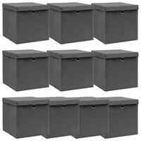 vidaXL Boîtes de rangement avec couvercles 10pcs Gris 32x32x32cm Tissu