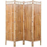 vidaXL Cloison de séparation à 4 panneaux Bambou