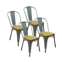 Lot De 4 Chaises D'intérieur Assise En Bois