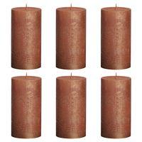 Bolsius Bougies pilier rustiques 6 pcs 130x68 mm Cuivre