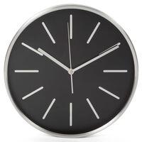Perel Horloge murale 30 cm Noir et argenté