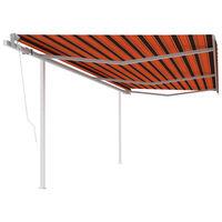 vidaXL Auvent automatique rétractable et poteaux 6x3m Orange et marron