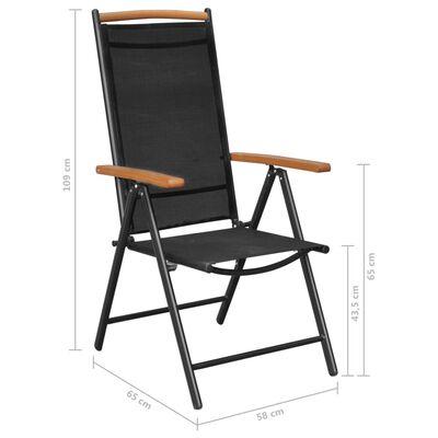 vidaXL Salon de jardin 7 pcs avec chaises pliables Aluminium Noir