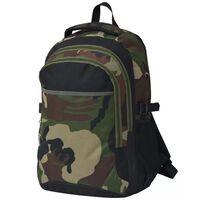 vidaXL Sac à dos d'école 40 L noir et camouflage