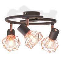 vidaXL Plafonnier avec 3 ampoules LED à filament 12 W