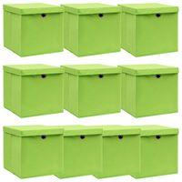vidaXL Boîtes de rangement avec couvercles 10pcs Vert 32x32x32cm Tissu