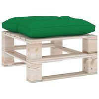 vidaXL Repose-pied palette de jardin avec coussin vert Bois de pin