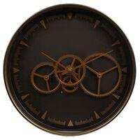 Gifts Amsterdam Horloge murale Radar Paul Doré et marron 36 cm