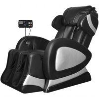 vidaXL Fauteuil de massage avec écran Noir Similicuir