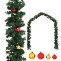 vidaXL Guirlande de Noël décorée avec boules 10 m