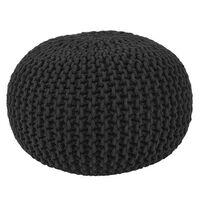 LABEL51 Pouf tricoté Coton M Noir