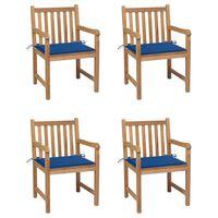 vidaXL Chaises de jardin 4 pcs avec coussins bleu royal Bois de teck