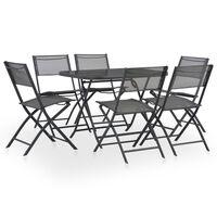 vidaXL Mobilier à dîner de jardin pliable 7 pcs Acier et textilène Gris