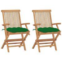 vidaXL Chaises de jardin avec coussins vert 2 pcs Bois de teck massif