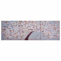 vidaXL Jeu de tableau sur toile Arbre fleuri Multicolore 120x40 cm