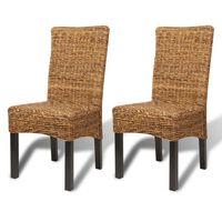 vidaXL Chaises de salle à manger 2pcs Bois solide de manguier et abaca