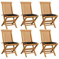 vidaXL Chaises de jardin avec coussins noir 6 pcs Bois de teck massif