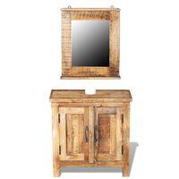 vidaXL Meuble de salle de bain avec miroir Bois massif de manguier