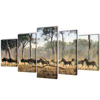 Set de toiles murales imprimées Zèbres 200 x 100 cm