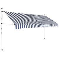 vidaXL Auvent rétractable manuel 350 cm Rayures bleues et blanches