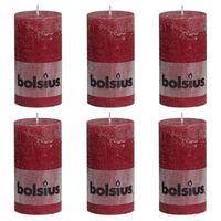 Bolsius Bougies pilier rustiques 6 pcs 130x68 mm Rouge bordeaux