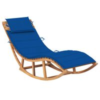 vidaXL Chaise longue à bascule avec coussin Bois de teck solide