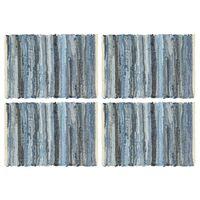 vidaXL Napperons 4 pcs Chindi Denim Bleu 30 x 45 cm Coton