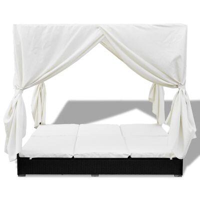 vidaXL Chaise longue d'extérieur avec rideaux Résine tressée Noir