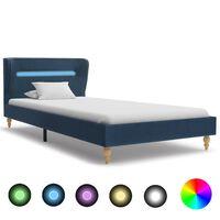 vidaXL Cadre de lit avec LED Bleu Tissu 90 x 200 cm