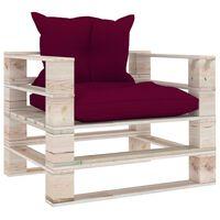 vidaXL Canapé palette de jardin et coussins rouge bordeaux Bois de pin