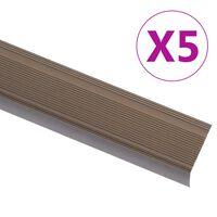 vidaXL Nez de marche Forme en L 5 pcs Aluminium 100 cm Marron